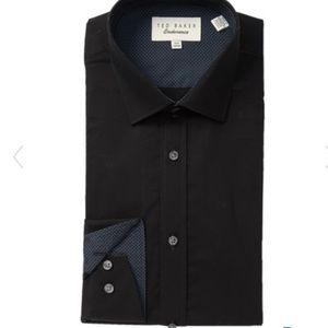 Ted baker endurance button up 16 34/35 black new